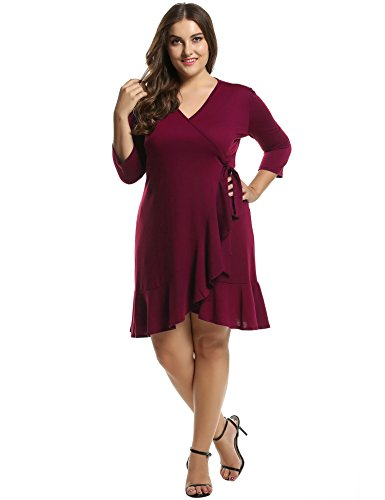 Meaneor Women's Plus Size 3/4 Sleeve Cocktail Wrap Dress(Red, XXXX-Large)
