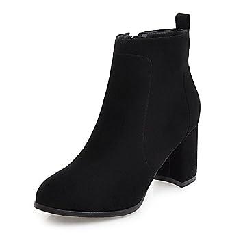 ZHZNVX HSXZ Zapatos de Mujer Moda otoño Invierno Polar Botas Botas Bota Null Chunky talón Puntera