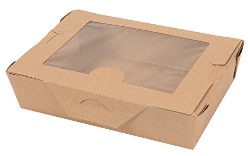 cubeta de papel plegable Bio-Plus View 02BPVWERTM, contenedor de alimentos de 19 cm de largo x 14 cm de ancho x 1 – 7/8 cm...