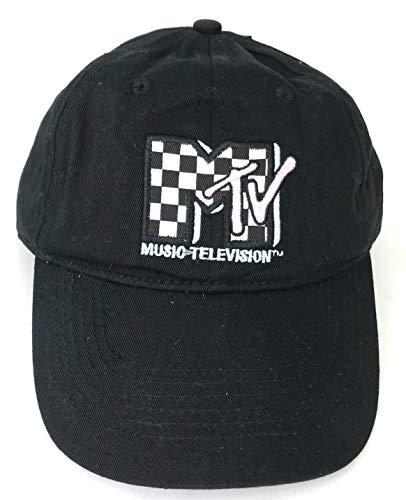 MTV Classic 80s Checkerboard Logo Baseball Cap Mens Black