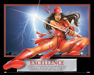 (24x18) Excellence - Elektra - Superhero Motivational Poster Print Superlitho ()