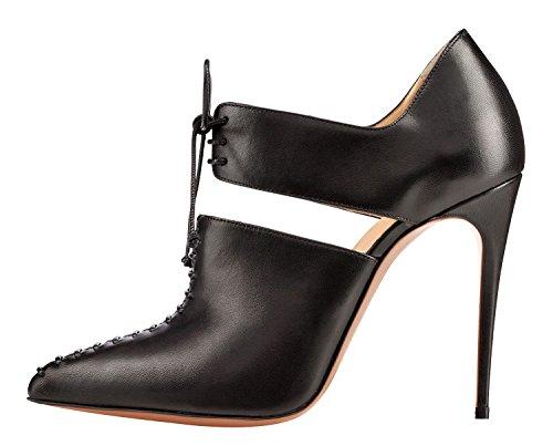 Arc-en-ciel zapatos de las mujeres del cordón de la bomba de tacón alto Negro