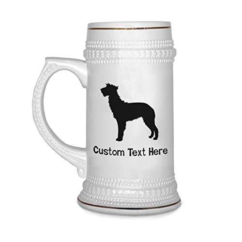 (Custom Beer Mug Scottish Deerhound Silhouette Ceramic Drinking Glasses Beer Gifts White 18 OZ Personalized Text Here)