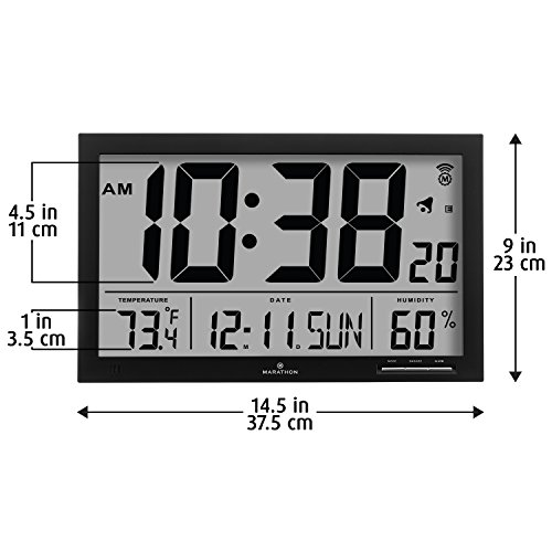 Digital Atomic Clock : Marathon cl bk slim jumbo atomic digital wall clock