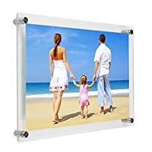 NIUBEE 8.5x11 inch Clear Acrylic Wall Mount Picture Frame, A4 Letter Size Floating Frames for Poster/Certificate/Advertisement/Gallery/Sign/Menu/Photography Display