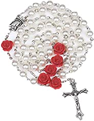 TK Inspirational Gifts Glass Pearl Beads Rosary First Communion Gift 6pcs 8mm Our Rose Holy Soil Medal&Cro