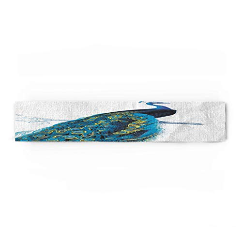 WAZZIT Peacock Cotton Table Runner - Perfect for Summer Holiday Parties and Everyday Use 16x72inch, Peacock Stand on Branch Wildlife Animals by WAZZIT