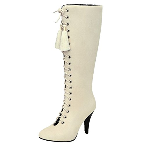 SJJH Knee-High Boots with Lace up and Kitten Heel Beautiful Boots with Large for All Parties Beige