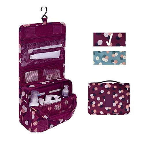 Travel Portable Organizer Cosmetic Bag, Jewelvwatchro Portable Hanging Toiletry Bag for Women or Men for vacation (Deep Red Daisy)