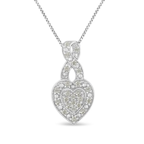(Sterling Silver 0.35ct TDW Diamond Heart Pendant Necklace (I-J, I3-Promo))