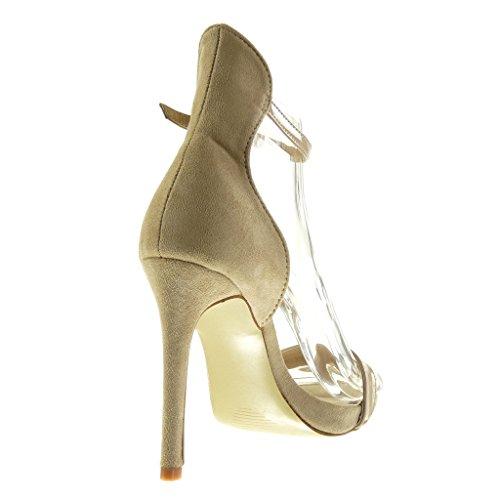 Angkorly - Scarpe da Moda scarpe decollete sandali stiletto con cinturino alla caviglia sexy donna fibbia lucide Tacco Stiletto tacco alto 11 CM - Beige