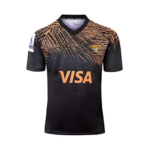 Ageaoa Men's Jaguar Home and Away Football Jersey Mens Short Sleeve Rugby Shirt Super Light Training Sportswear Breathable Pro Jersey Sportswear,Black,M