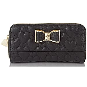 Betsey Johnson Be My Bow Quilted Zip Around Wallet
