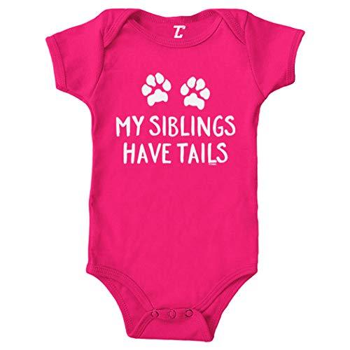 My Siblings Have Tails - Pet Animal Bodysuit (Pink, Newborn)