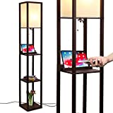 Brightech Maxwell LED Shelf Floor Lamp with Wireless Charging Pad - for Living Rooms & Bedrooms, 1 USB Port & 1 Electric Outlet - Modern Standing Light - Asian Display Shelves - Havana Brown