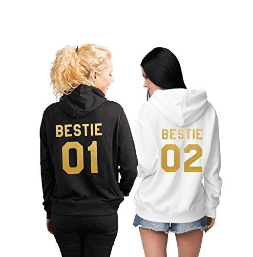Bestie 01 Bestie 02 Best Friends Matching Hoodies Set (Black/White)-M/M
