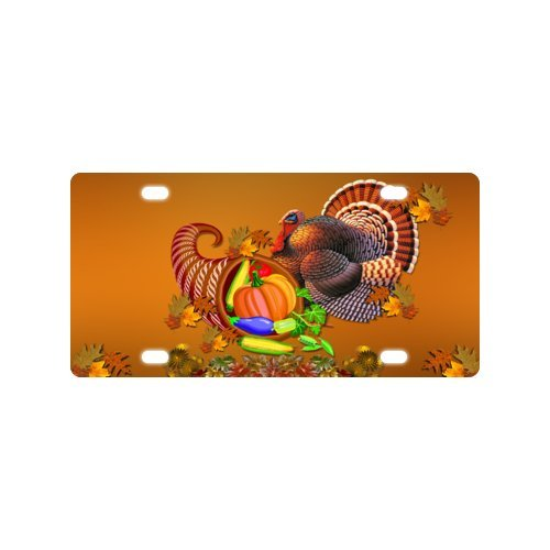 Thanksgiving Turkey With Pumpkin Metal Car Tag License Plate Along with Superb Quality 12