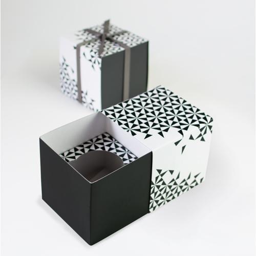 Paper Eskimo Cupcake Box (Pack of 6), Black Geo CBBG1266