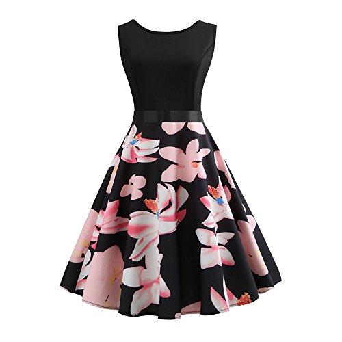 EINCcm Women's Casual Swing Sleeveless Dress Floral Print Pleated Dress 1950s Retro Rockabilly Prom Party Cocktail Dress(Pink, XL)