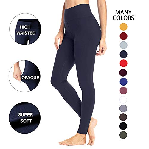 High Waisted Leggings for Women – Soft Athletic Workout Pants - Reg & Plus Size (Navy, One Size (US 2-12))