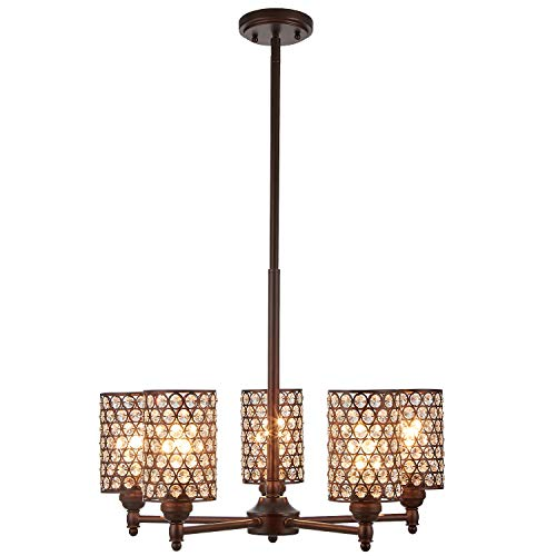 Doraimi 5 Light Crystal Chandelier Lighting with Brown Finish,Modern and Concise Style Ceiling Light Fixture with Polyhedral,Opal Crystal Shade for Foyer, Dining Room, Living Room, Family Room,Etc.