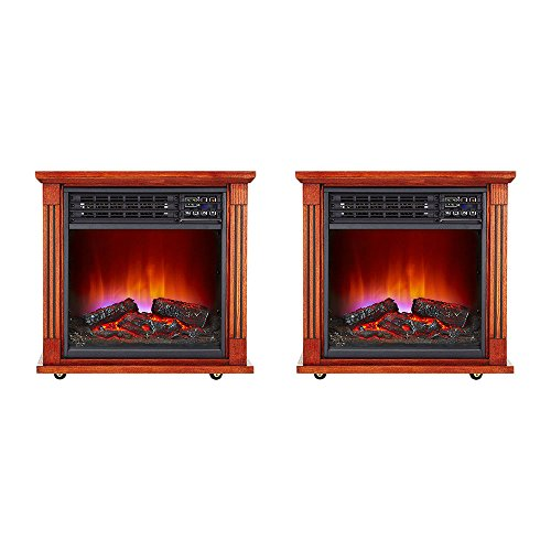 Haier Fireplace Infrared Zone Heater with Dark Oak Finish (2 pack) | HHF15CPC Haier Infrared Heaters