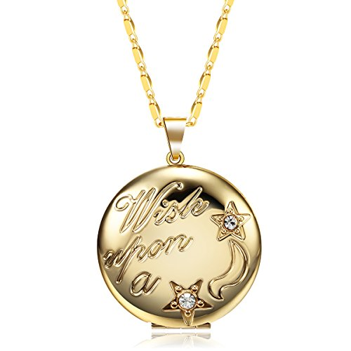 (JuJubak Sterling Gold Circle Diamond Hand-Engraved Photo Picture Locket Pendant Necklace Platinum/18K Gold Plated Vintage)