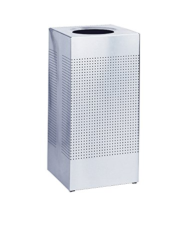 Rubbermaid Commercial Silhouette Designer Wastebasket, Square Open Top, 16-Gallon, Stainless Steel (FGSC14SSPL)