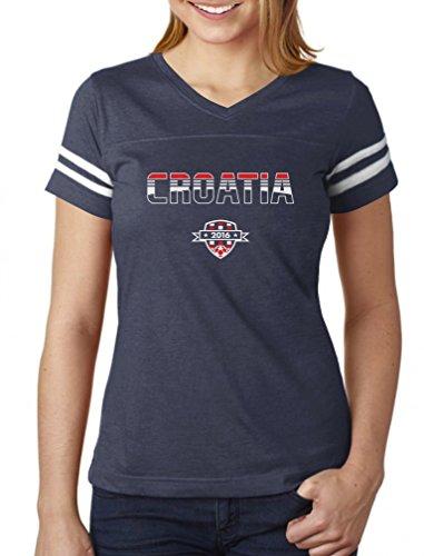 Croatia Soccer / Football Team 2016 Fans Women Football Jersey T-Shirt Small navy/white