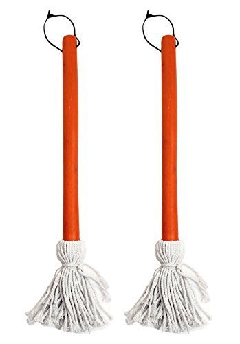 Set of 2 BBQ Basting Mops with Wood Handle and Cotton Head,