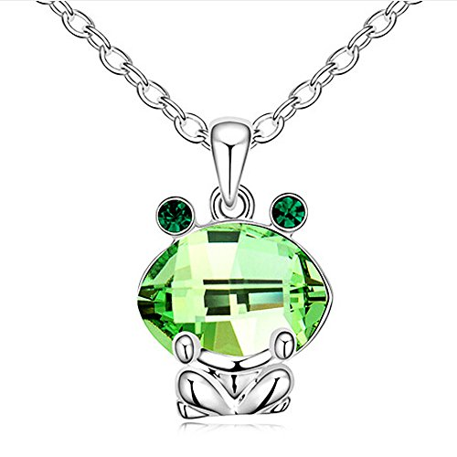 RareLove Emerald Green Austrian Crystal Cute Frog Animal Pendant (Emerald Frog Pendant)