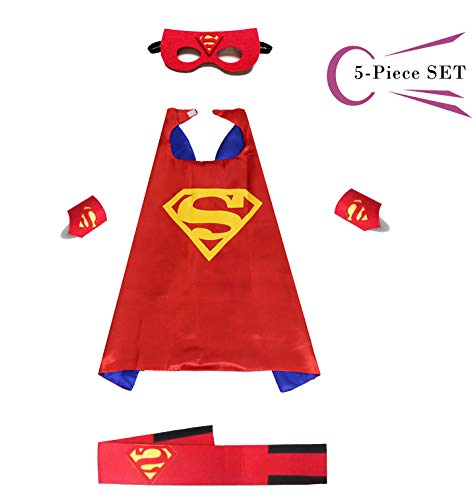 Superhero Dress Capes Set for Kids - Child DIY Superhero Themed Birthday Halloween Party Dress up 5-Pack Set (Superman) -