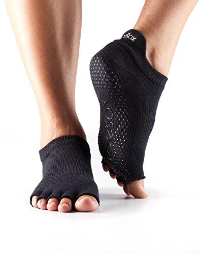 ToeSox Women's Grip Half Toe Low Rise Socks, Medium, Black