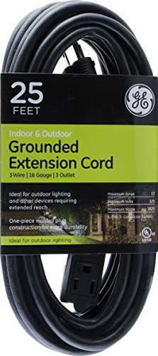 - GE 25 ft Extension Cord, Outdoor, Ideal for Outdoor Lighting, Double Insulated Cord, Long Life, Heavy Duty, UL Listed, Black, 36825