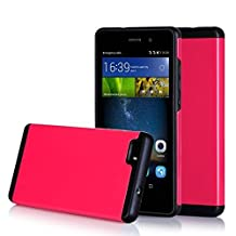 Huawei P8 Case , FYY [Vibrant Series] Lightweight 2 in1 Hybrid Dual Layer (Plastic Hard Shell and Flexible TPU) Protective Case for Huawei P8 Lite Magenta & Black