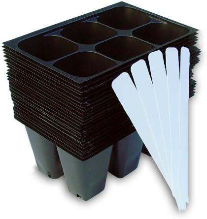 9GreenBox - 묘목 시동 트레이 144셀: (트레이24 트레이; 트레이당 6셀) 플러스 5 플랜트 라벨 / 9GreenBox - 묘목 시동 트레이 144셀: (트레이24 트레이; 트레이당 6셀) 플러스 5 플랜트 라벨