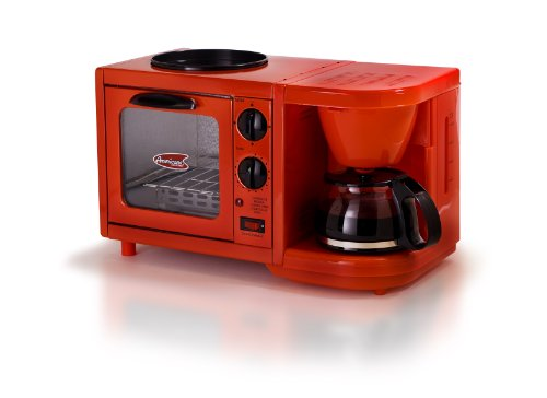 Elite Cuisine EBK-200R Maxi-Matic 3-in-1 Multifunction Breakfast Center, Red (Camping Appliances compare prices)