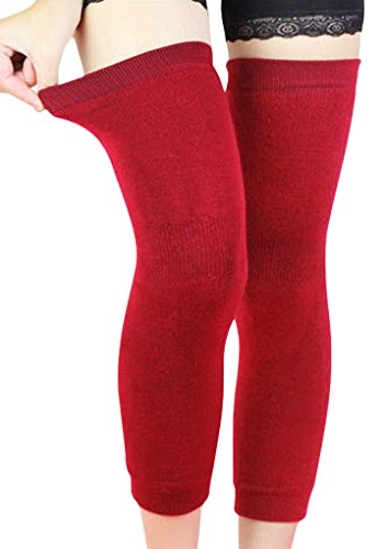 Price comparison product image Men Women Thicken Long Stretchy Knee Sleeve Leg Warmers Winter Breathable Thermal Wool Cashmere Knee Brace Pads Support Protector Legging Stockings for Outdoor Sports Arthritis Tendonitis Red
