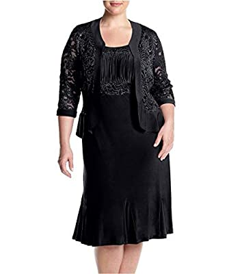 R&M Richards RM Richards Womens Plus Size Ruffled Trim Lace Jacket Mother Of The Bride Dress