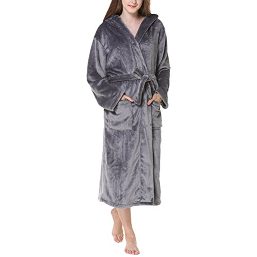 Size Unisex Thick Hooded Albornoz Flannel Dark Gray Nightgown Comfy Fashion Warmth Men Pijama Zhuhaitf Winter Plus Women BxqIH66z