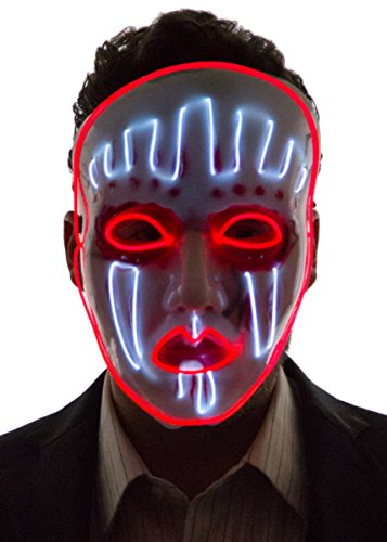 Neon Nightlife Men's Light Up Painted Face Puppet Mask, White & Red