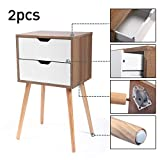 JAXPETY Set of 2 Nightstand 2 Drawers End Table Storage Wood Cabinet Bedroom Accent Side Table (White&Walnut)