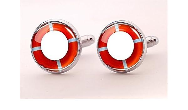 Rojo Gemelos, Gemelos de flotador de las Boyas, Lifeguard Gemelos, Gemelos de plata, redonda de cristal encanto Joyería, Gemelos de Camisa: Amazon.es: ...