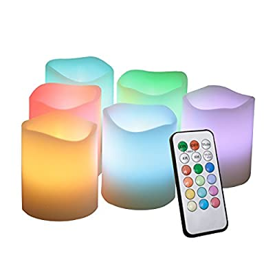 """iZAN 6PCS Multi Color Changing Flameless Battery Operated LED Votive Candles with Remote Flickering Electric votives for Halloween Christmas Home Party Wedding Decors 1.5""""x2"""" Batteries Included"""