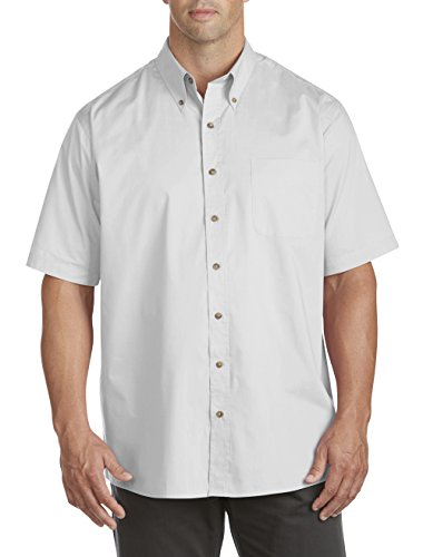 Harbor Bay by DXL Big and Tall Easy-Care Solid Sport Shirt, White 5XLT ()