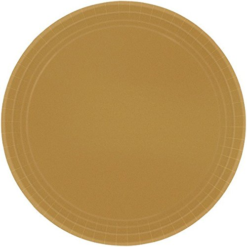 Disposable Party Round Dinner Plates, 8 Pieces, Made from Paper, Gold, 9