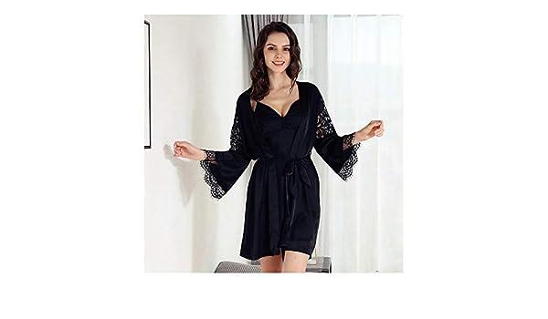 HAOLIEQUAN Camisones Vintage Pijama Pijamas De Mujer con Encaje Conjuntos De Pijamas 2 Piezas Camisones De Seda Conjunto Pijamas Camisones Camisones Rosa: ...