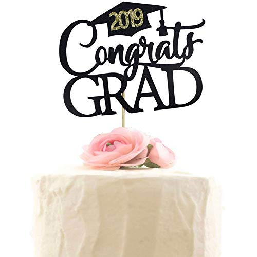 Congrats Grad 2019 Cake Topper - Class of 2019 Cake Toppers - Grad 2019 Party Decorations - Graduation Party Supplies - Black Glitter -