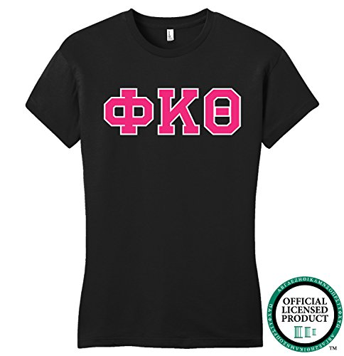 PHI KAPPA THETA | Hot Pink Letters - Licensed Fitted Ladies' T-shirt-Ladies,