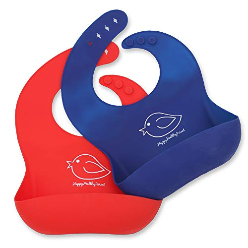Silicone Baby Bibs Easily Wipe Clean - Comfortable Soft Waterproof Bib Keeps Stains Off, Set of 2 Colors (Red/Blue)